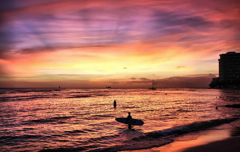 在夏威夷岛学冲浪