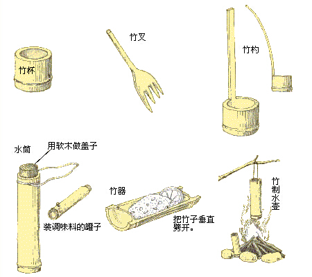 野外求生自制餐具