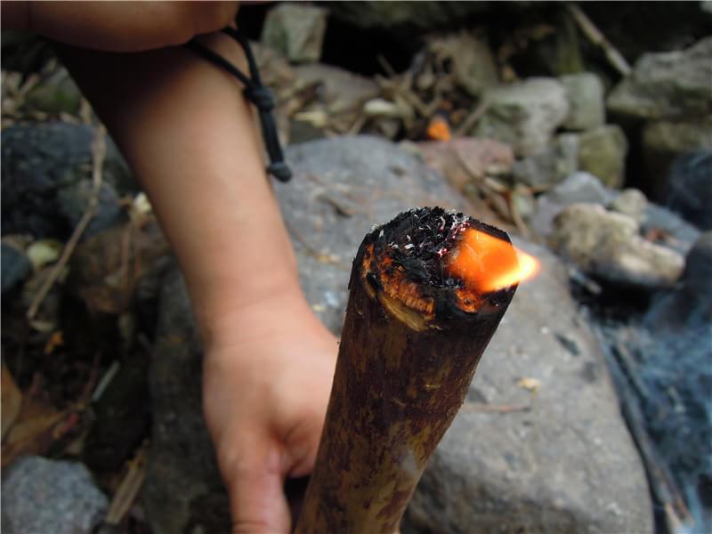野外求生制作松脂火把