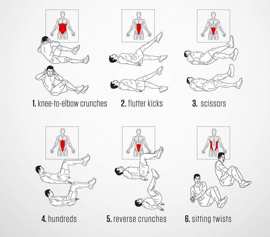 6招腹肌训练&锻炼的肌群位置!