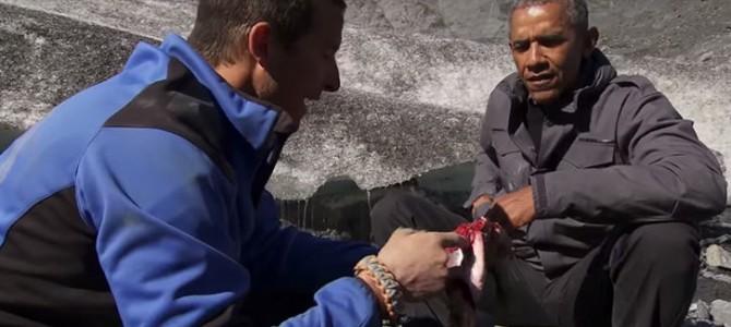 奥巴马参加贝爷越野千里节目吃生鱼