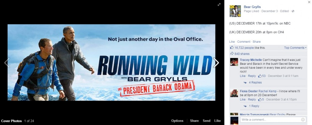 running wild with bear grylls obama facebook