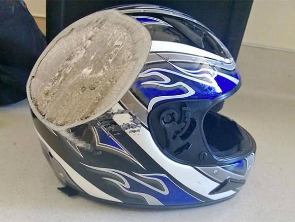10顶事故后的安全帽,告诉你任何时候都不能脱下头盔!