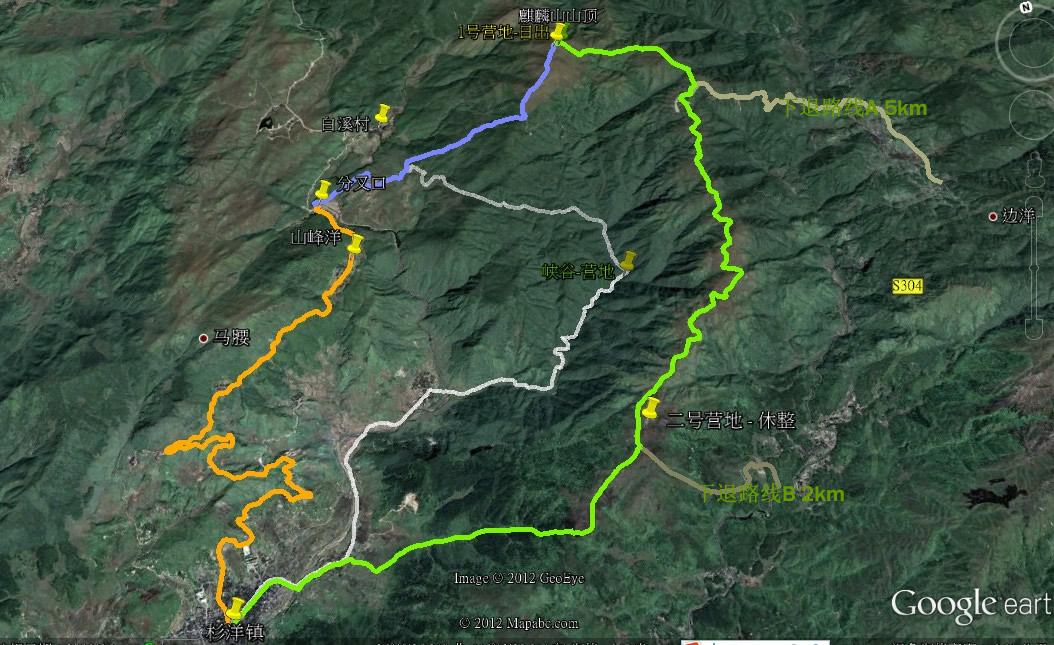 麒麟山登山路线图